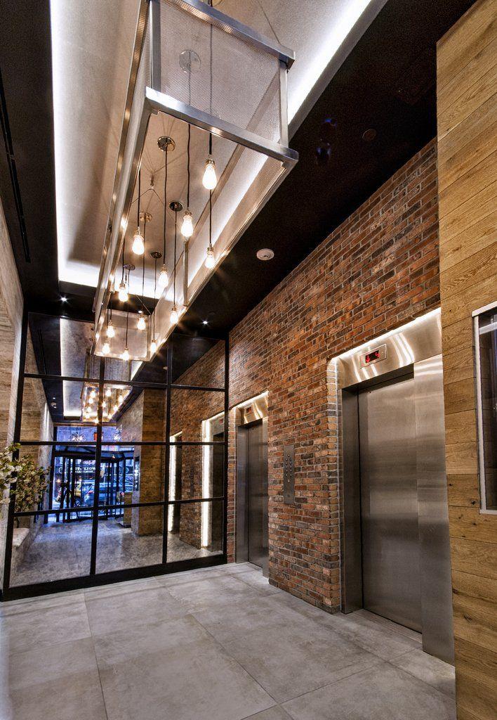 Industrial Loft Lobby Design Black Ceiling Accent Lobby Design
