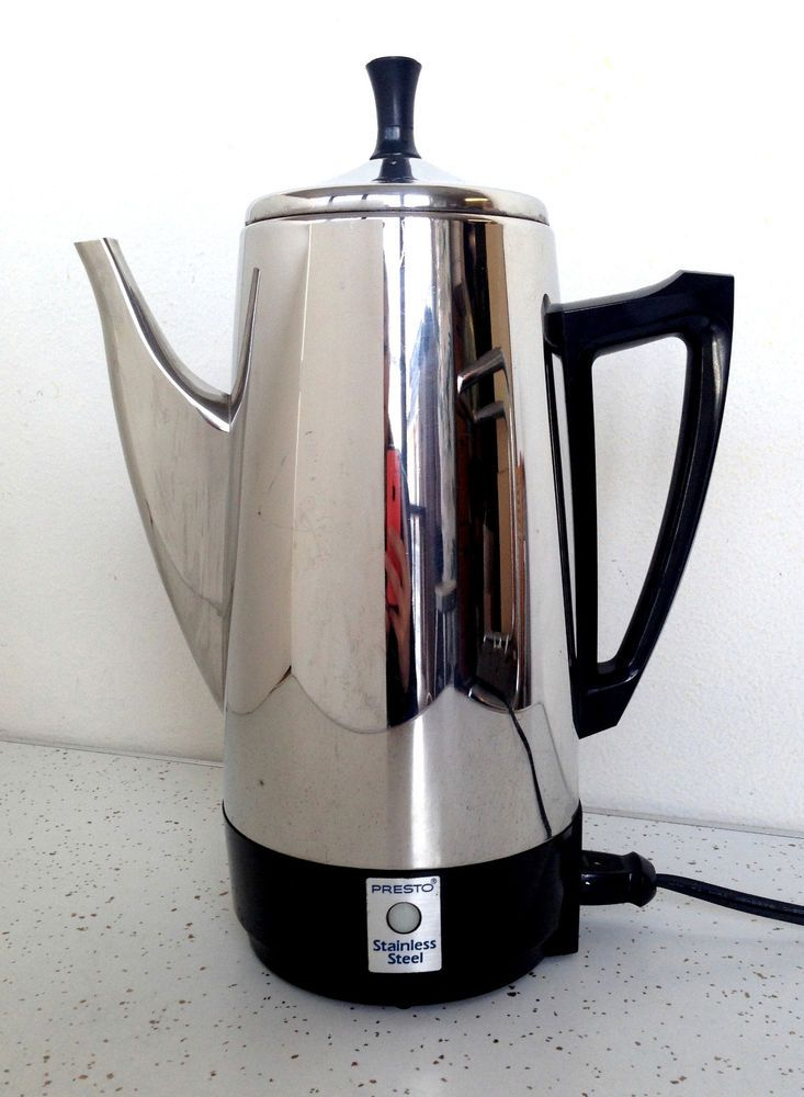 Presto Stainless Steel Coffee Percolator Pot Maker Vintage 12 Cups Chrome