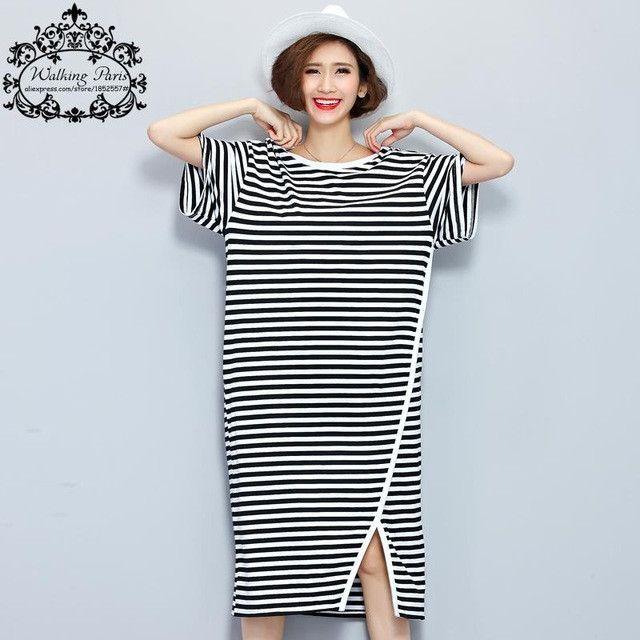 Plus Size Women Dress Black and White Striped Print Summer T-Shirt Cotton  Long Fashion Female Split T Shirt Big Size Dresses 28993fe8e556