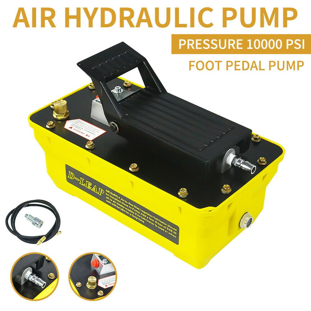Air Powered Hydraulic Foot Pump 10,000 PSI Pedal Hydraulic Release Pressure