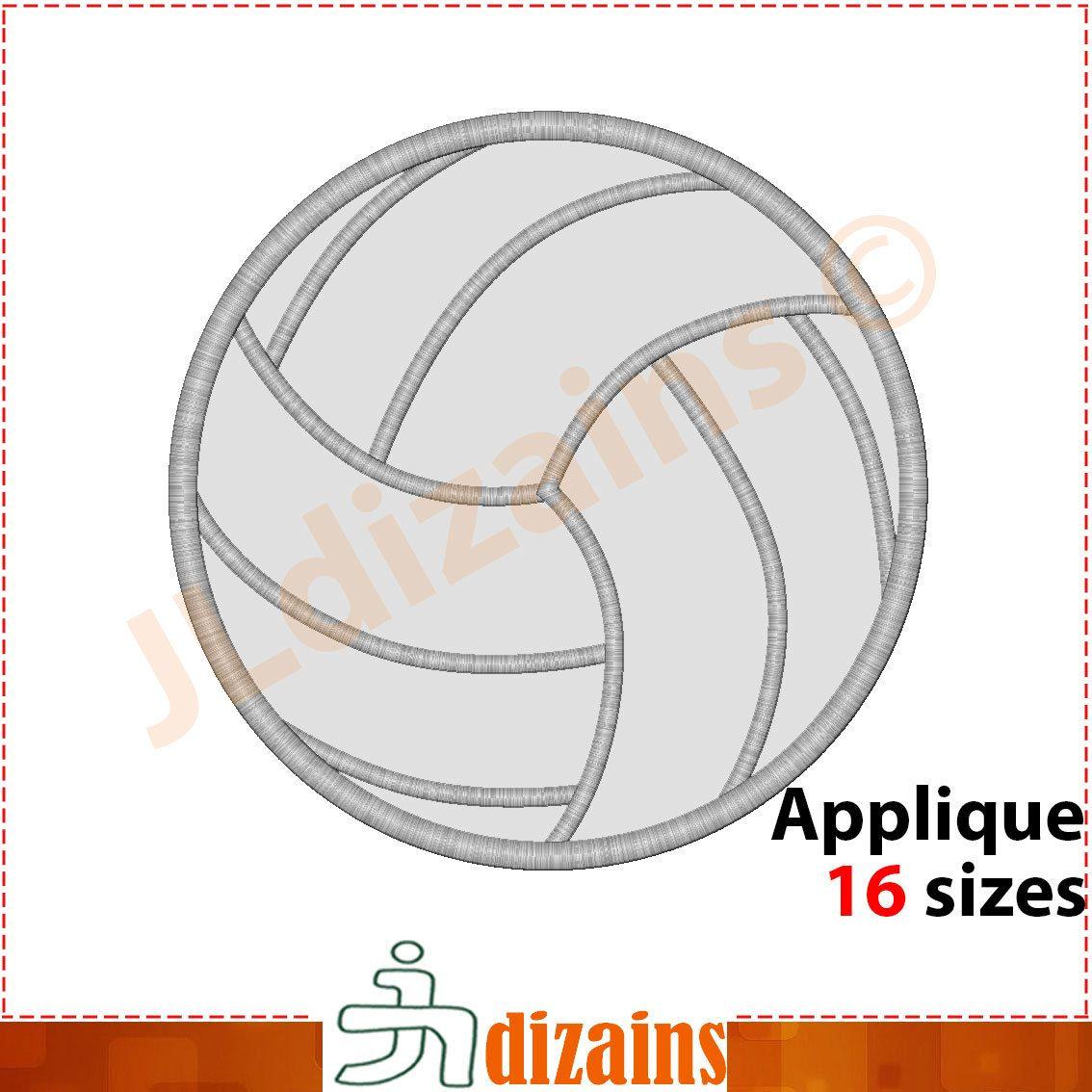 Volleyball Applique Design Volleyball Embroidery Design Etsy In 2020 Embroidery Designs New Embroidery Designs Machine Embroidery Designs