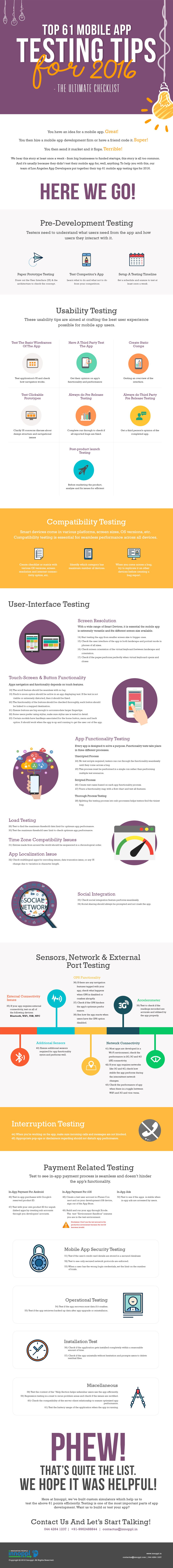 Top 61 Mobile App Testing Tips for 2016