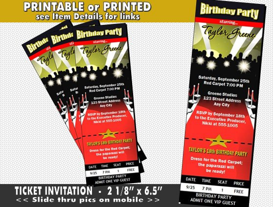 Red Carpet Paparazzi Ticket Invitation Printable With Printed Option Birthday Party Hollywood The