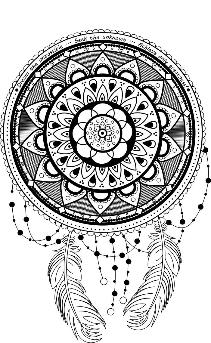 dreamcatcher mandala coloring pages | DreamCatcher Mandala by LotusArtStudio.deviantart.com on ...
