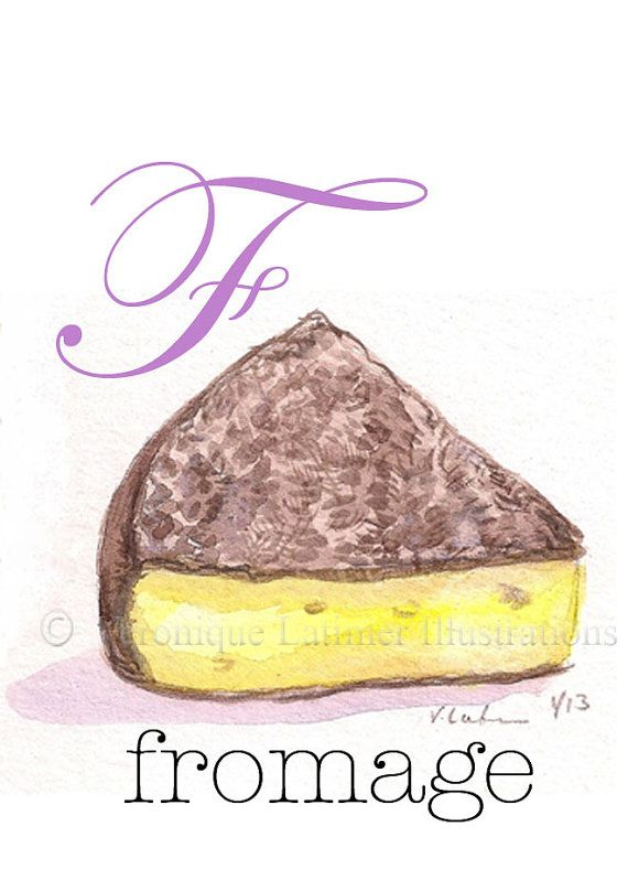 F is for Fromage Alphabet Food Print in French by Veroniquelatimer, $15.00