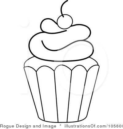 cupcake outline clip artjpg 400420 - Cupcake Candle Coloring Page