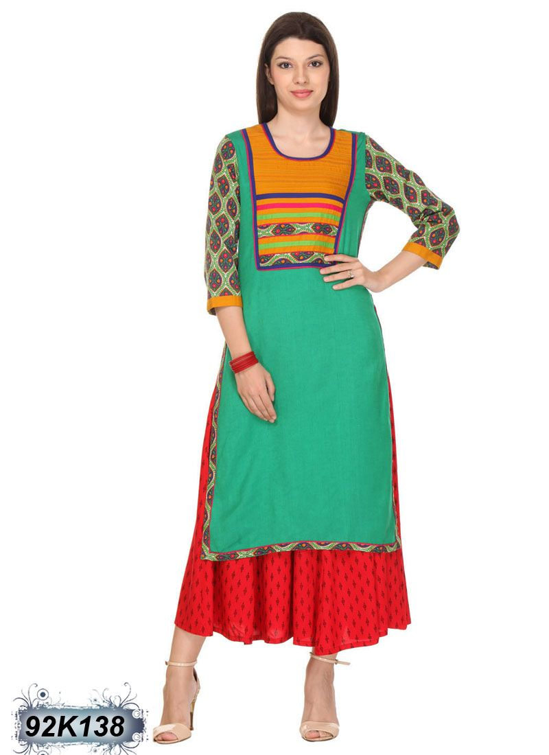 Amiable green coloured cotton flex kurti buy casual kurtis at