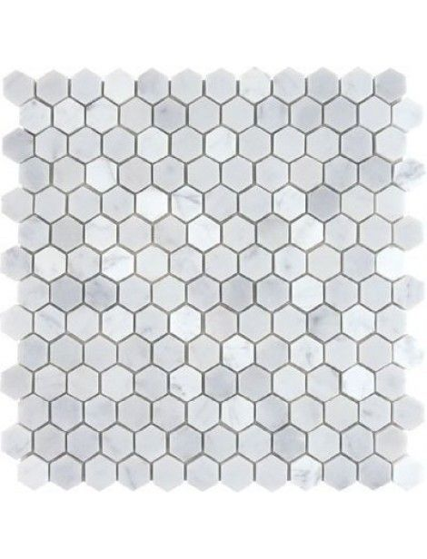 1x1 Bianco White Carrara Marble Hexagon Pattern Polished Mosaic Tile Bianco White Carrara Marble Hexag Hexagon Mosaic Tile Hexagonal Mosaic Mosaic Wall Tiles