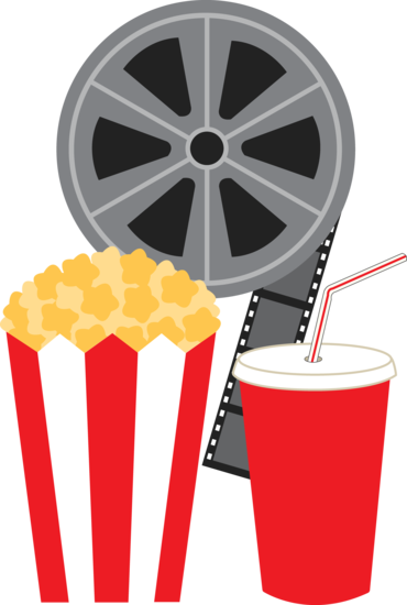 Clip art of a movie film reel with a bag of popcorn and a cup of ...
