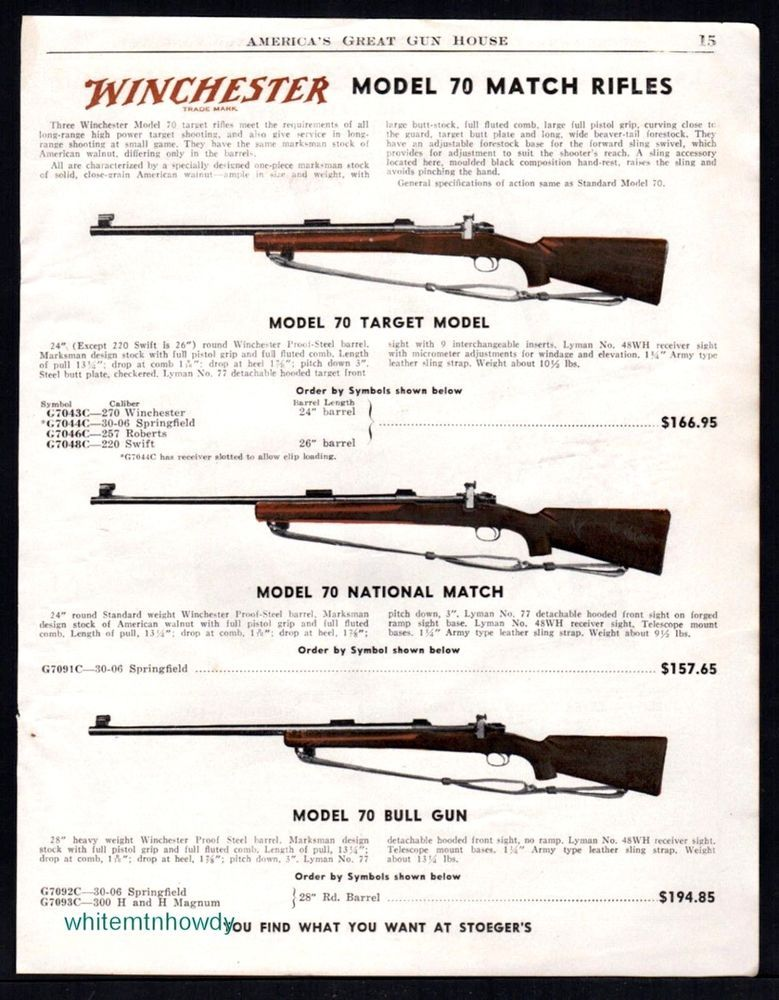1951 Winchester Model 70 Target And National Match Bull Gun Rifle