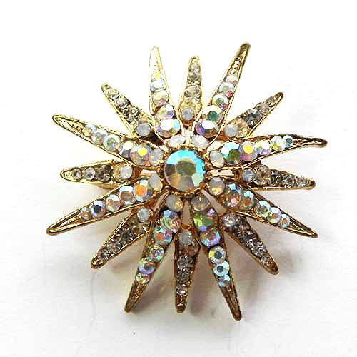 Stunning Evening Star vintage brooch aurora with clear aurora borealis diamante Dome shaped and sparkling rays of aurora borealis 1960s