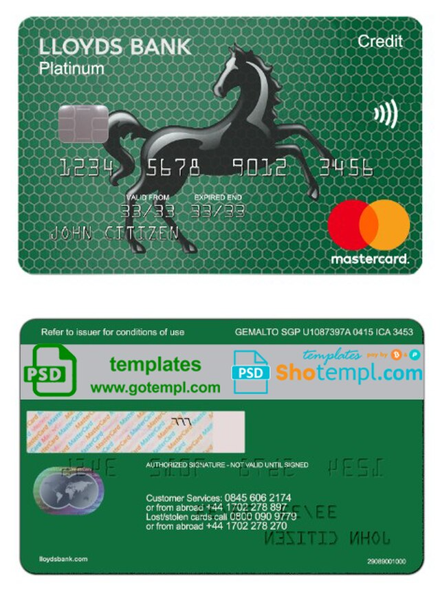 United Kingdom Lloyds Platinum Mastercard Template In Psd Format Fully Editable Visa Card Numbers Templates The Unit