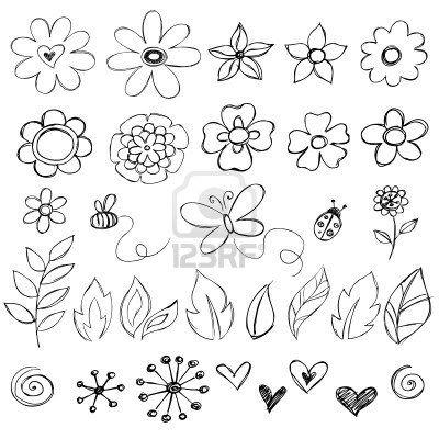 Sketchy Doodle Flower Vector Illustrations Flower Doodles Flower Drawing Doodle Drawings