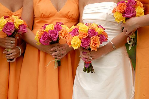 Chimera Roses Wedding Bouquet Orange And Hot Pink Yes Please