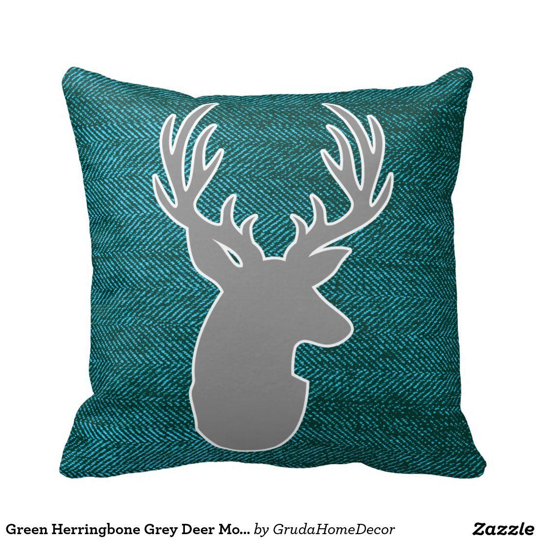 Green herringbone grey deer monogram pillow monogram pillows