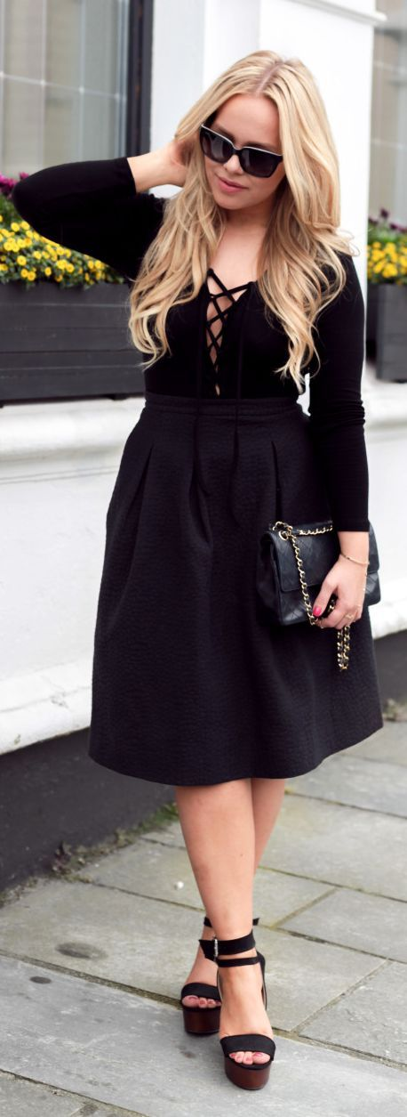 Black Lace-up Midi Dress by Cath In The City