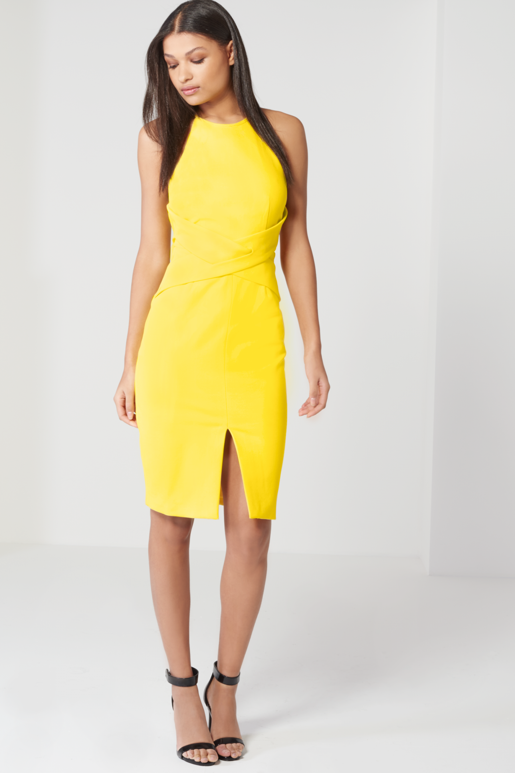 Canary Yellow Wrap Front Keyhole Back Detail Midi Dress | Spring ...