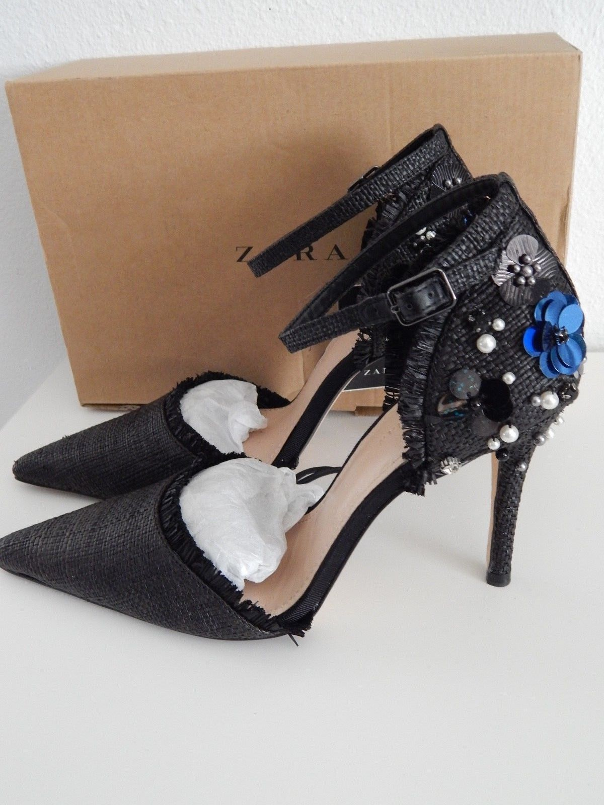 b3be18c9ccf New ZARA Jeweled Pumps Size 38 7.5 Rhinestones   Pearls Ankle Strap High 4  Blac