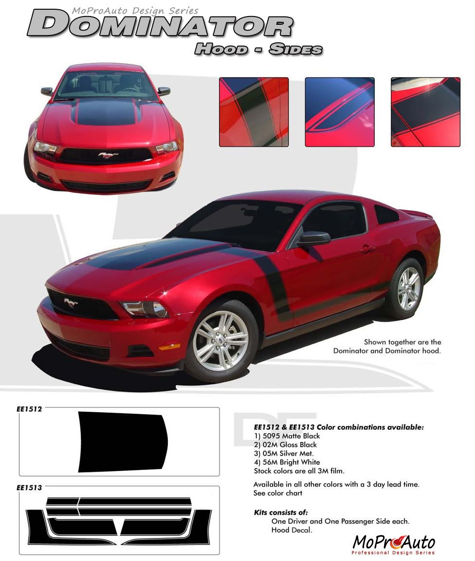 Mustang Boss Dominator 2010 2011 2012 Boss Style Ford Mustang Hood And Sides Graphics Kit In 2020 Mustang Boss Ford Mustang Mustang