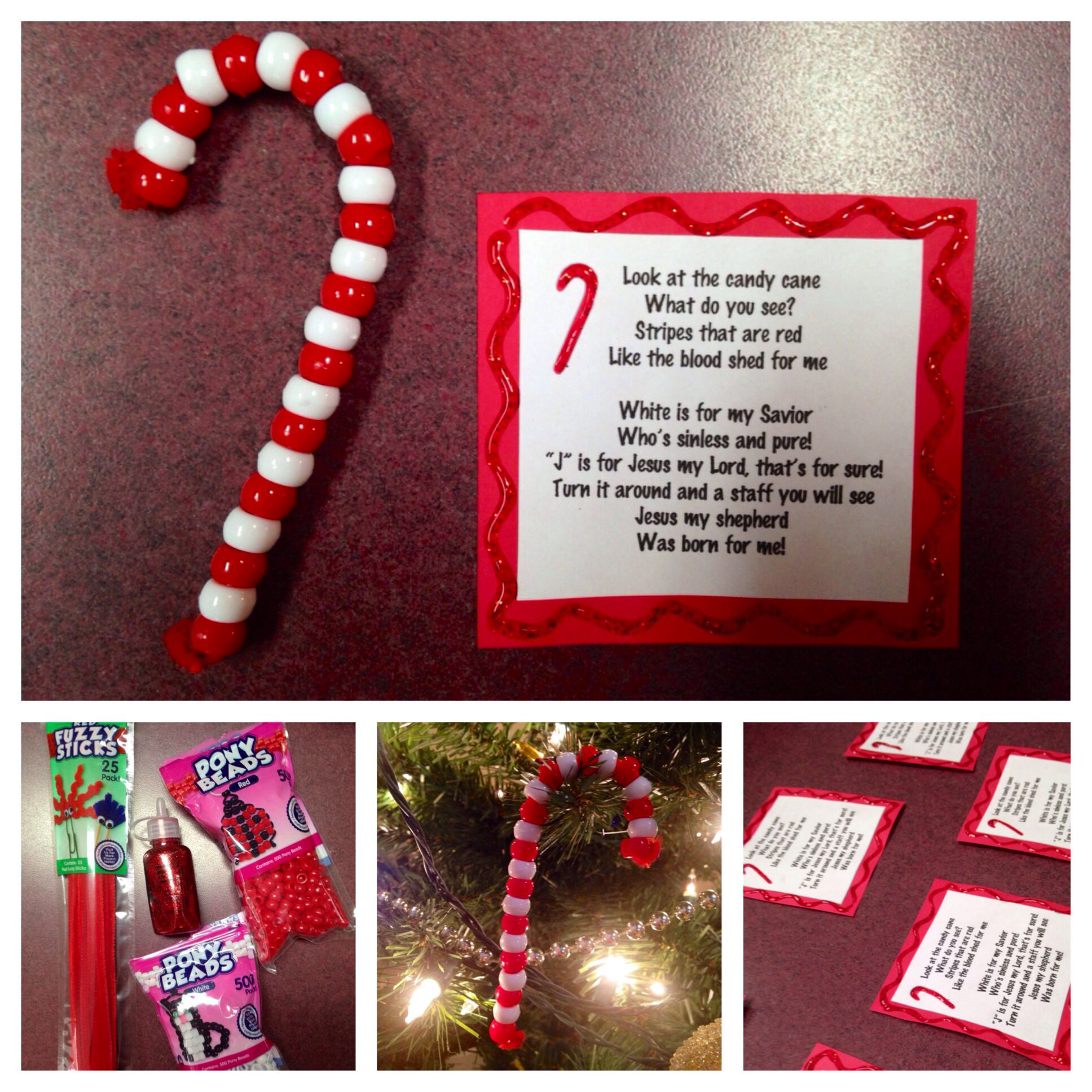 Great Sunday School Craft Candy Cane Ornaments Made From
