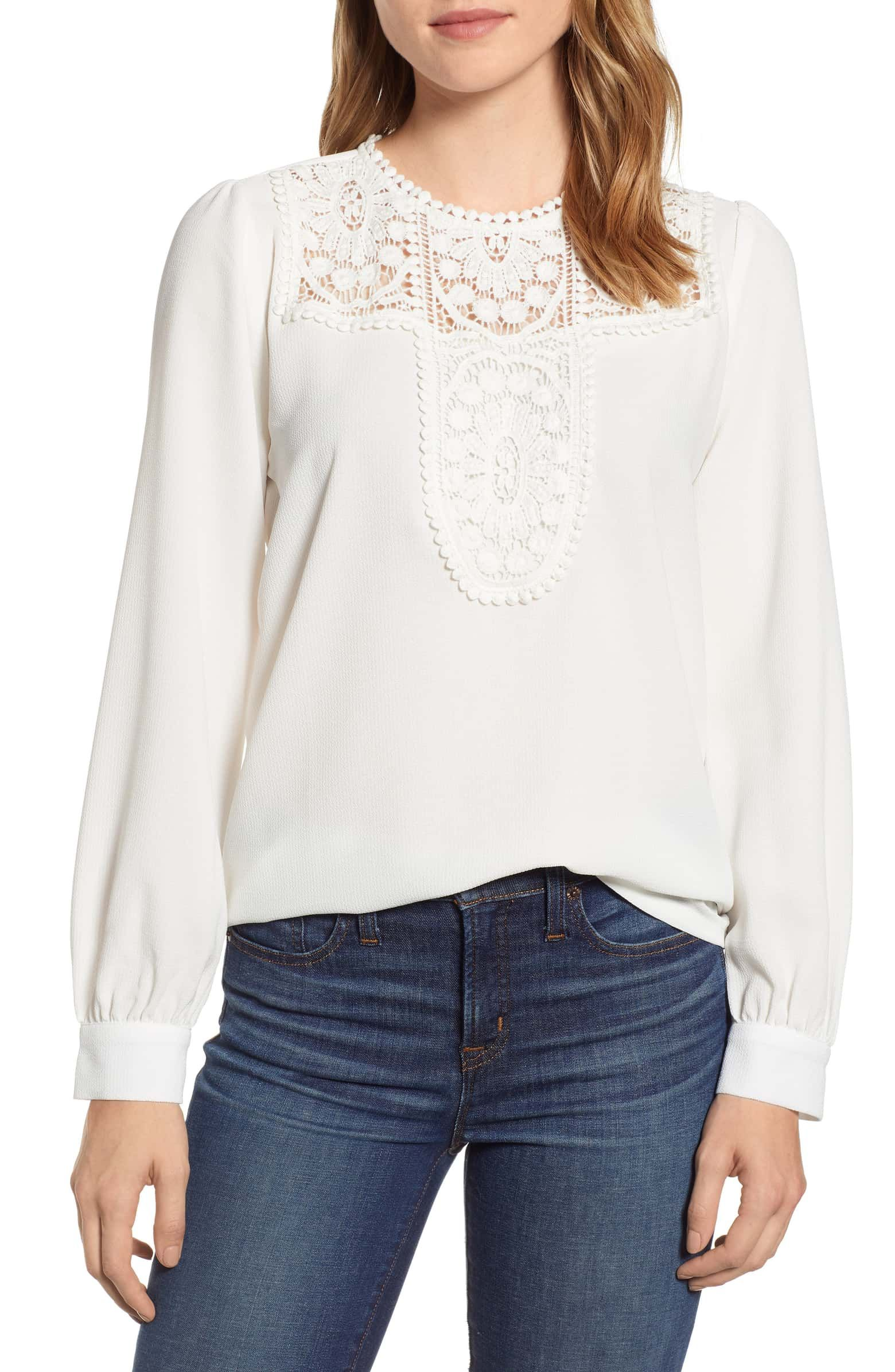 Halogen 174 Lace Amp Crepe Blouse Regular Amp Petite With