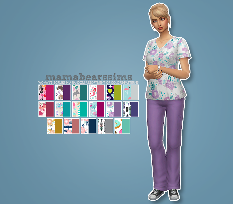Women s Scrub Set • 17 patterned tops • 17 solid colored bottoms •  Standalone recolor • Requires Get to Work • Available for YA A E • Custom  thumbnails ... 52b889a0e