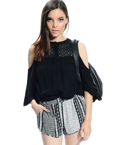 Shop ModDeals.com for Black Open Shoulder Button Up Top  in our cheap trendy Tops category. Find trendy cheap clothing for women, discount shoes, jewelry sales, perfume & cheap accessories for women.