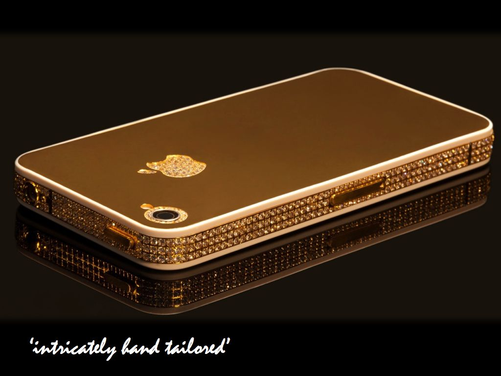 02dd41a34776d 24ct Gold iPhone 4s customised with an intricate layer of Swarovski ...