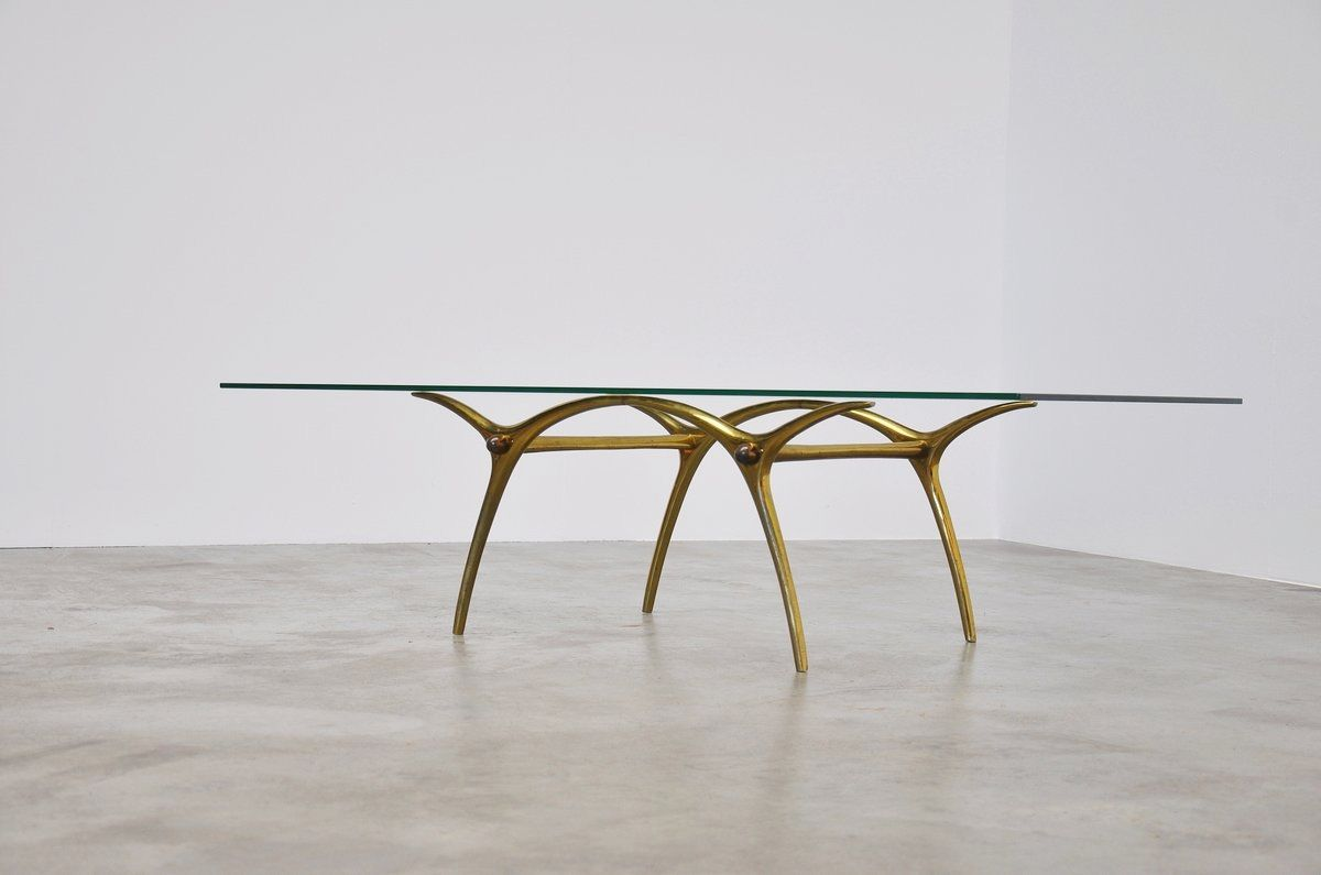 Italian Brass Coffee Table With Sculptural Base 1950 Brass Coffee Table Coffee Table Italian Dining Table