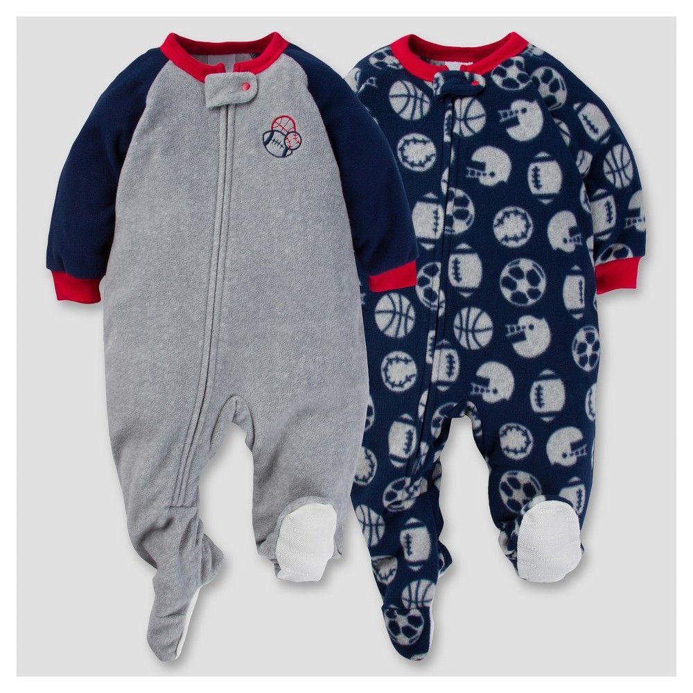 2a9f84b23 Gerber Baby Boy 2pk Sports Microfleece Zip-Front Footed Blanket ...