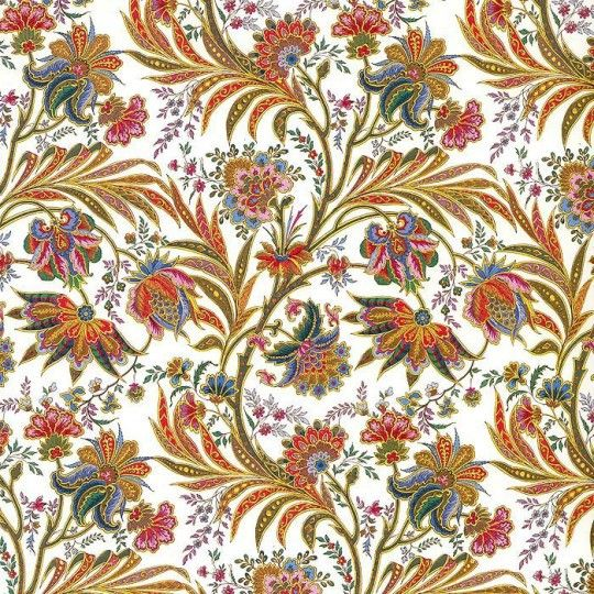 Jacobean Flowers Florentine Print Paper ~ Kartos Italy