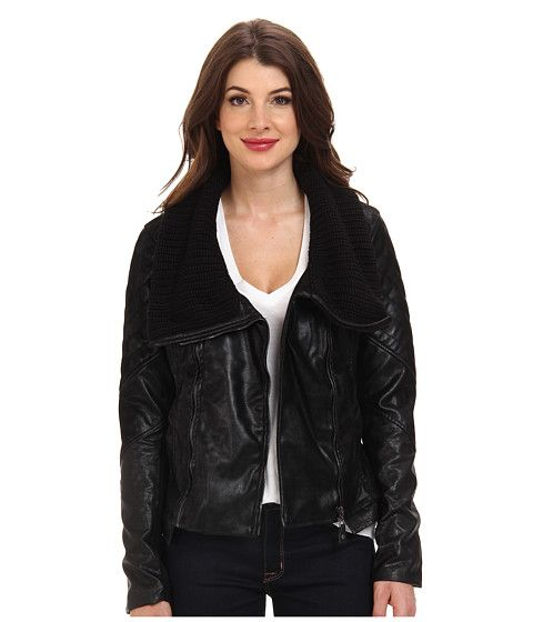 Blank NYC Black Jacket w/ Sweater Like Collar Detail. Faux leather but it's got a cool look and good price $150