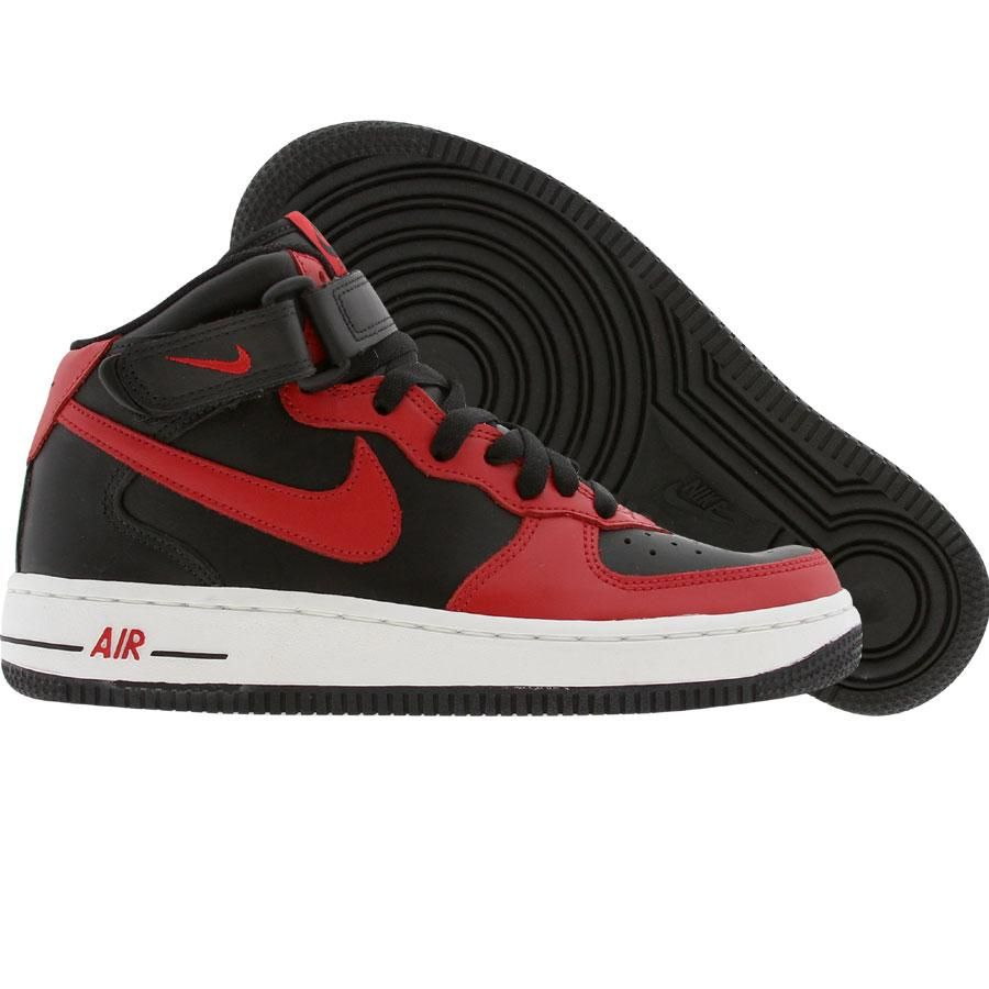 Nike Air  Force 1 Mid Negro  Air Rojo  Rojo 306603 063 Niños 052711
