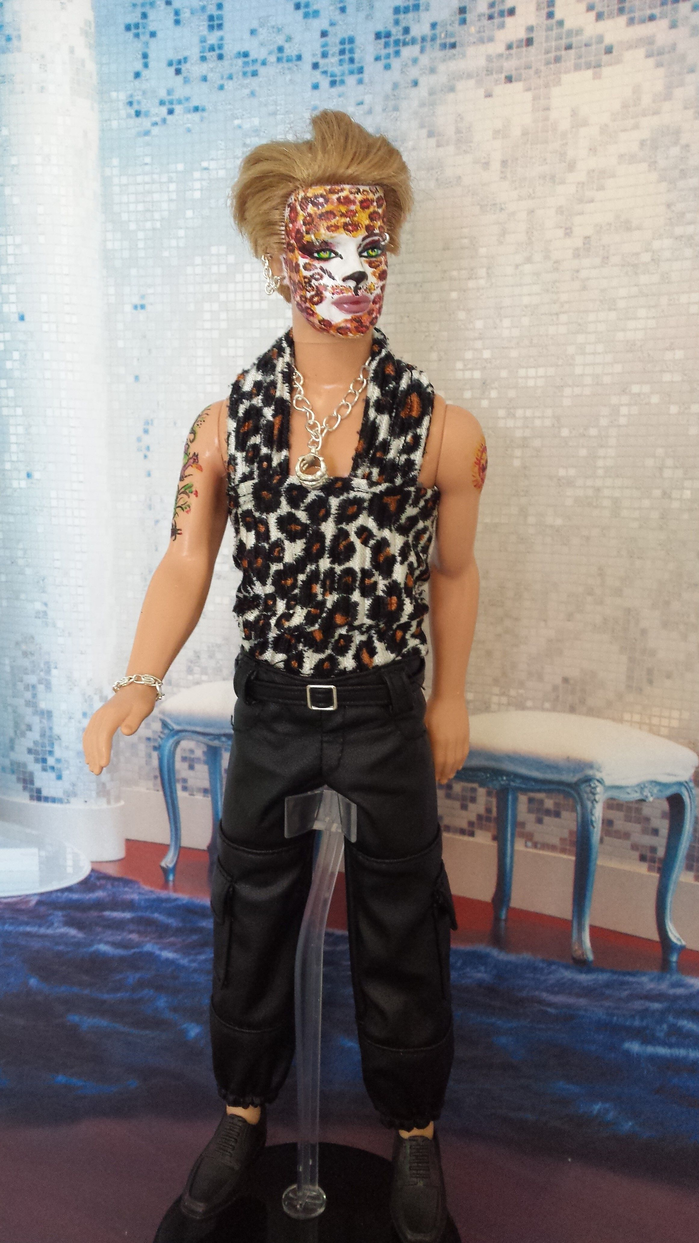 Selling Beautiful and authentic KEN OOAK Manimal Furry style !!!  unique !! Complete new make up repainted. Doll + dress + jewelry