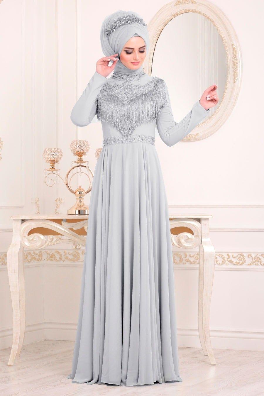 Tesetturlu Abiye Elbise Boncuk Detayli Gri Tesettur Abiye Elbise 20901gr Tesetturisland Com Elbise Elbiseler Aksamustu Giysileri