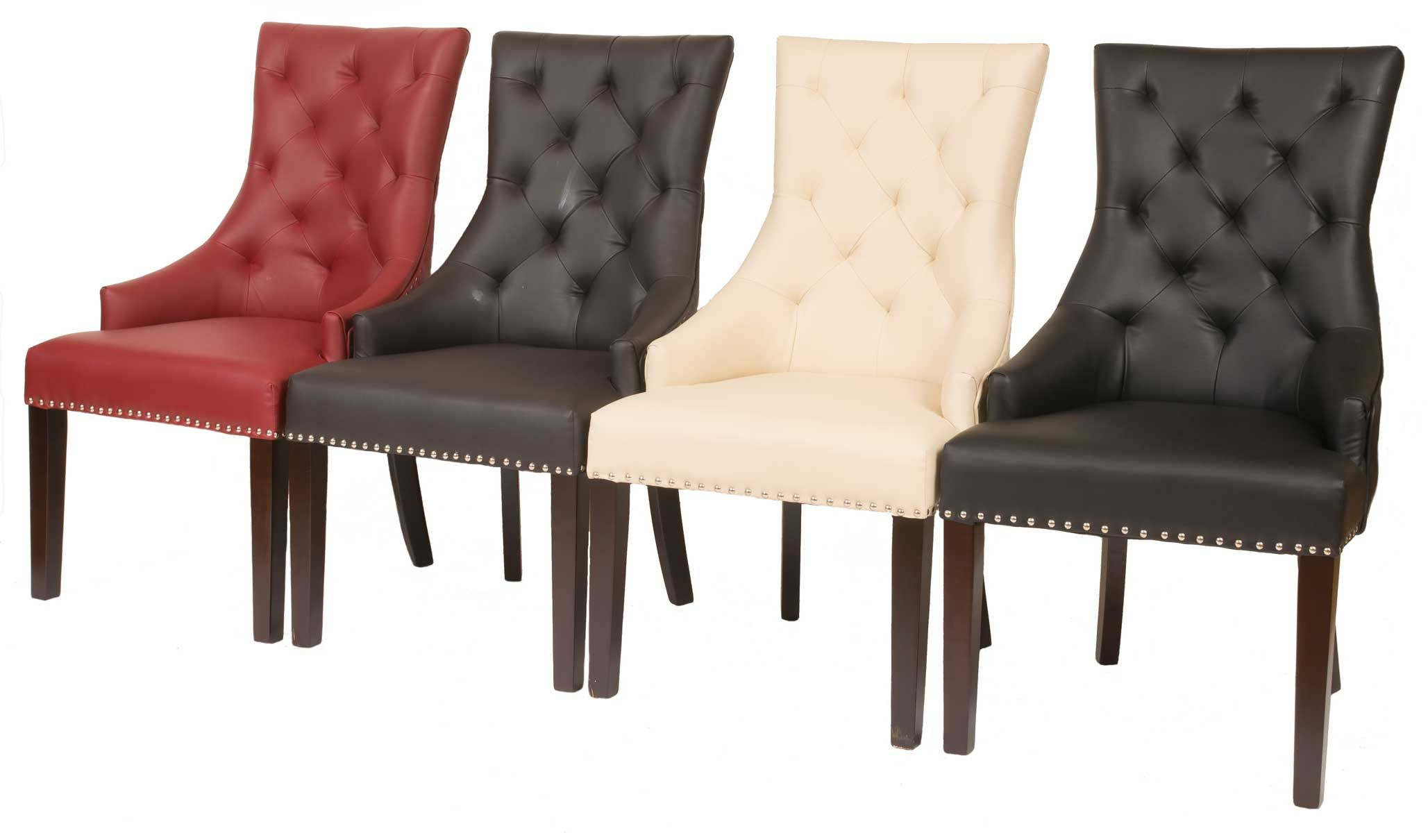 Fontwell Smart Leather Dining Chair Buttoned Back Smart Leather