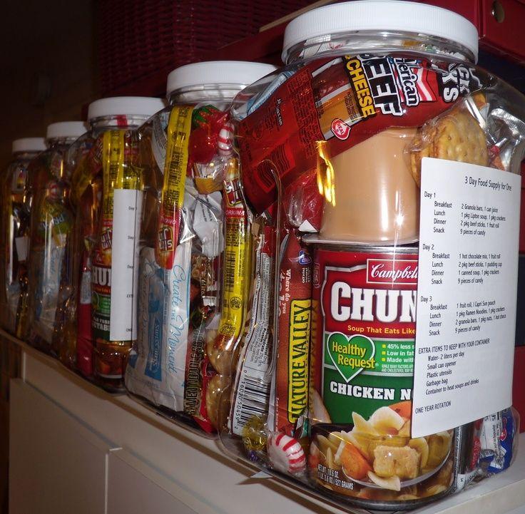 Homemade 72 hour emergency food supply kits one gallon