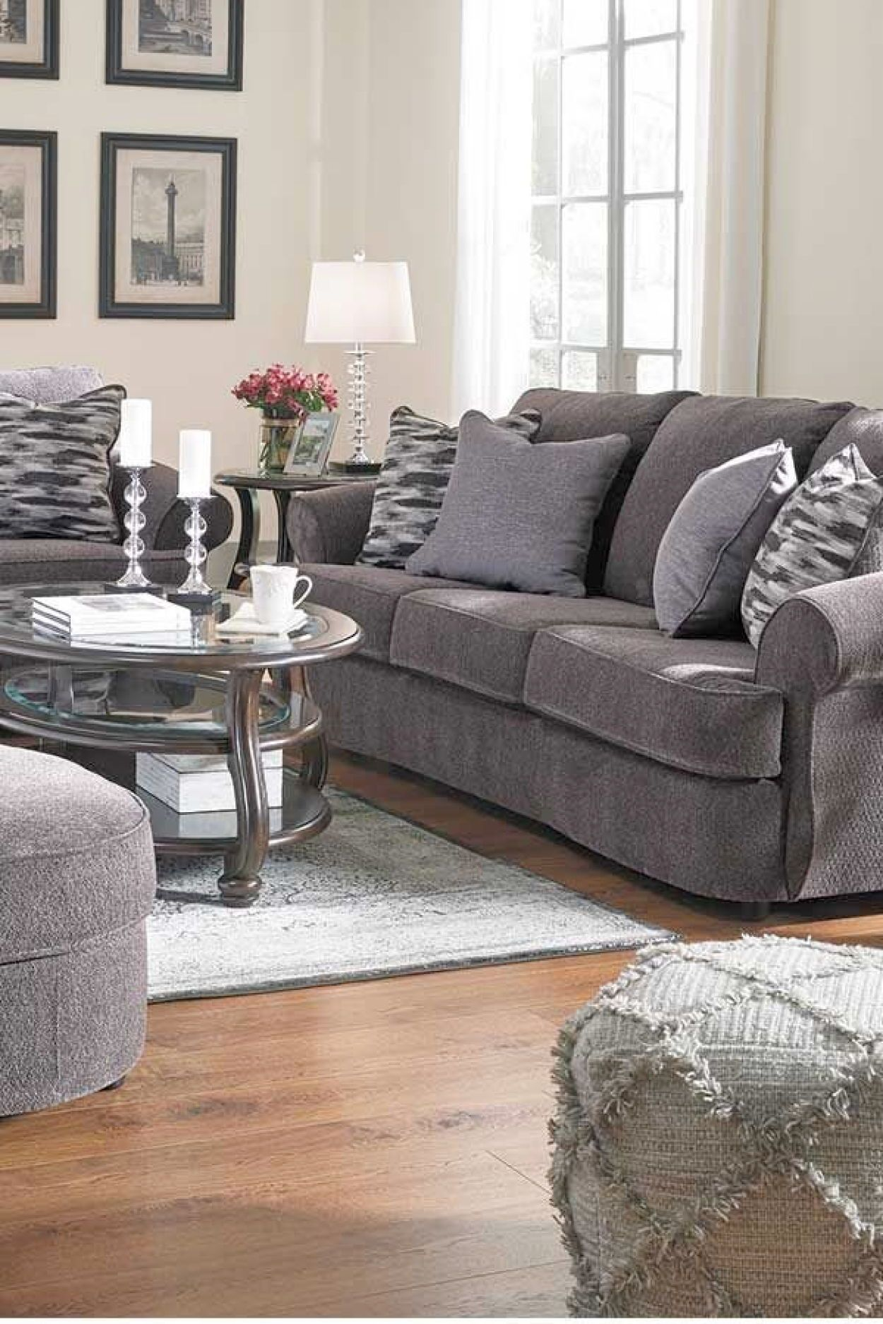 Allouette Ash Sofa From Signature Design By Ashley Furniture This Sofa Features An Inviting Silhouette With Rolle Furniture Living Dining Room Grey Upholstery
