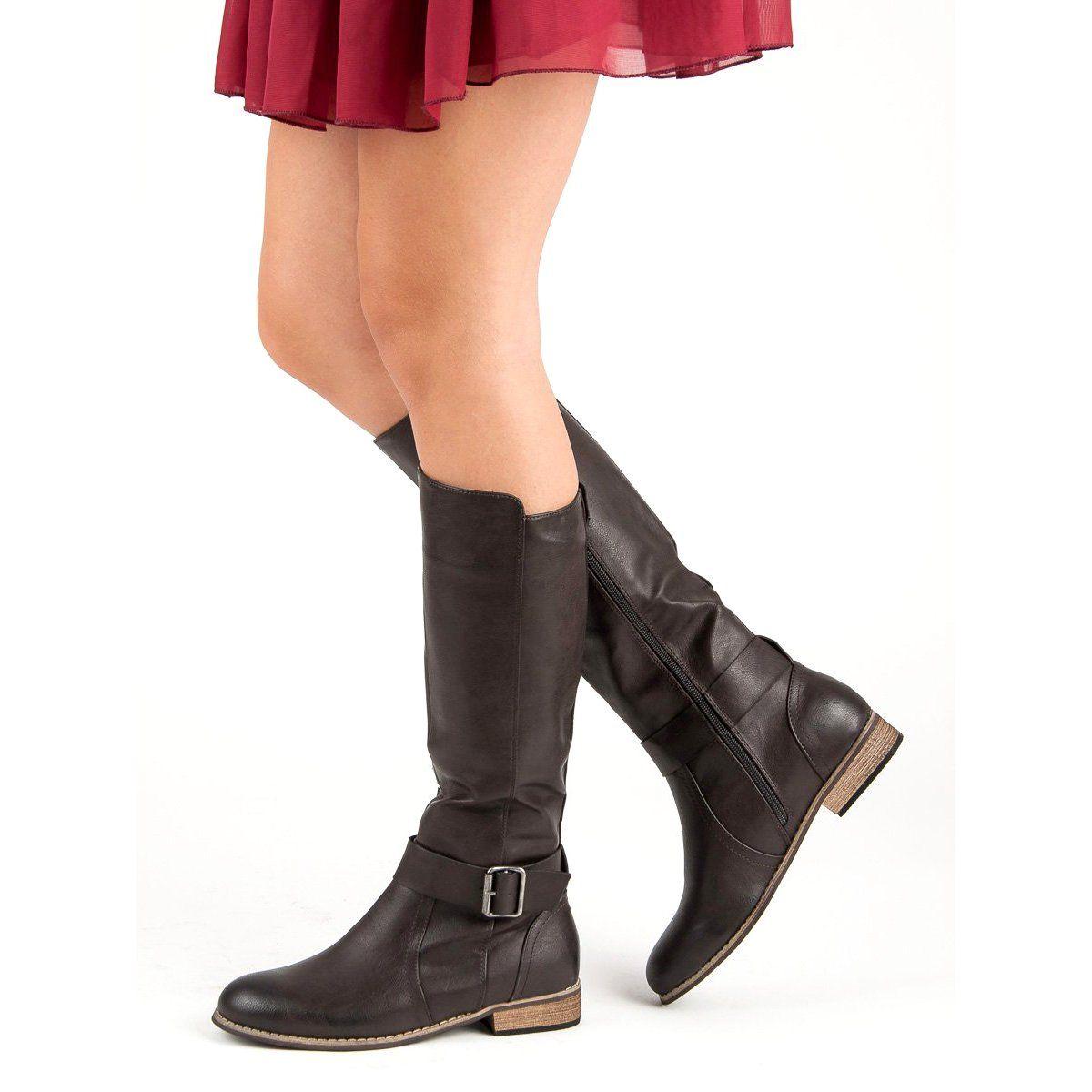Klasyczne oficerki brązowe Biker boot, Boots, Fashion