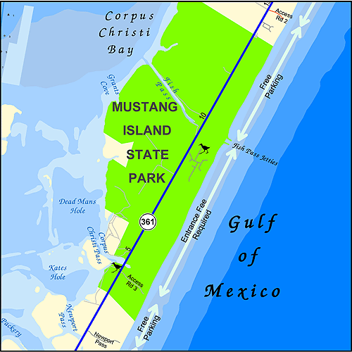 Mustang Island Beach: Map Of Mustang Island State Park