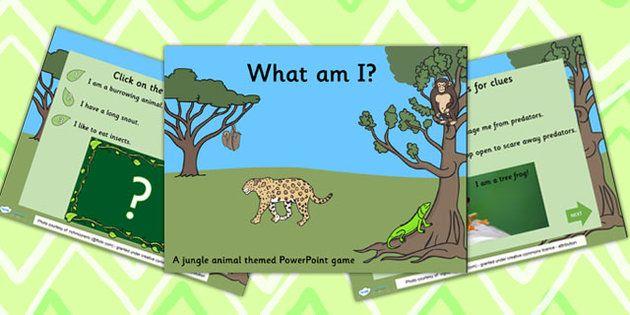 Jungle Animals What Am I Interactive Powerpoint Game - jungle - new jungle powerpoint template
