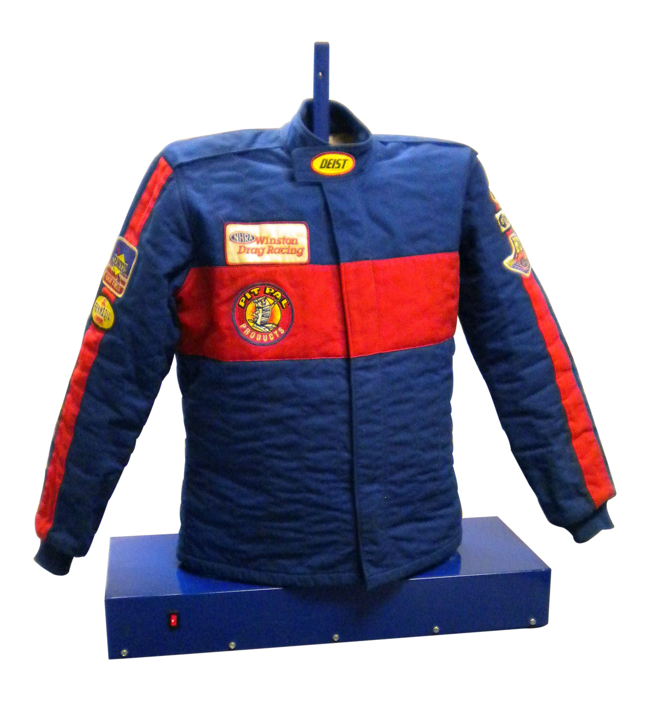 Racing Jacket Power Dryer > Save $50 Now! * Place your jacket over the shoulder supports & around base, zip it up & let the POWER DRYER take action! * Blasts air through your jacket to remove moisture * Set on stable, sturdy surface when in use * Does not contain heating element * Requires access to a power source http://www.pitpal.com/drag-racing/racing-jacket-power-dryer/