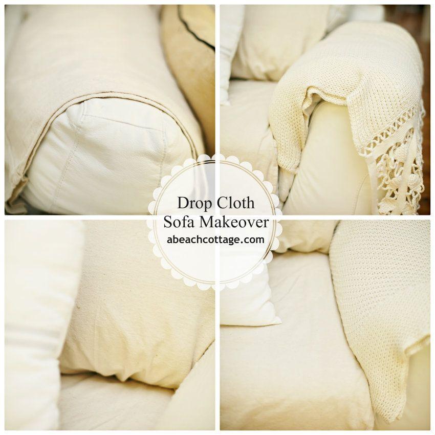 No Sew Sofa Makeover How To Cover A Sofa With Fabric / Drop Cloth « Beach  Decor Blog, Coastal Blog, Coastal Decorating
