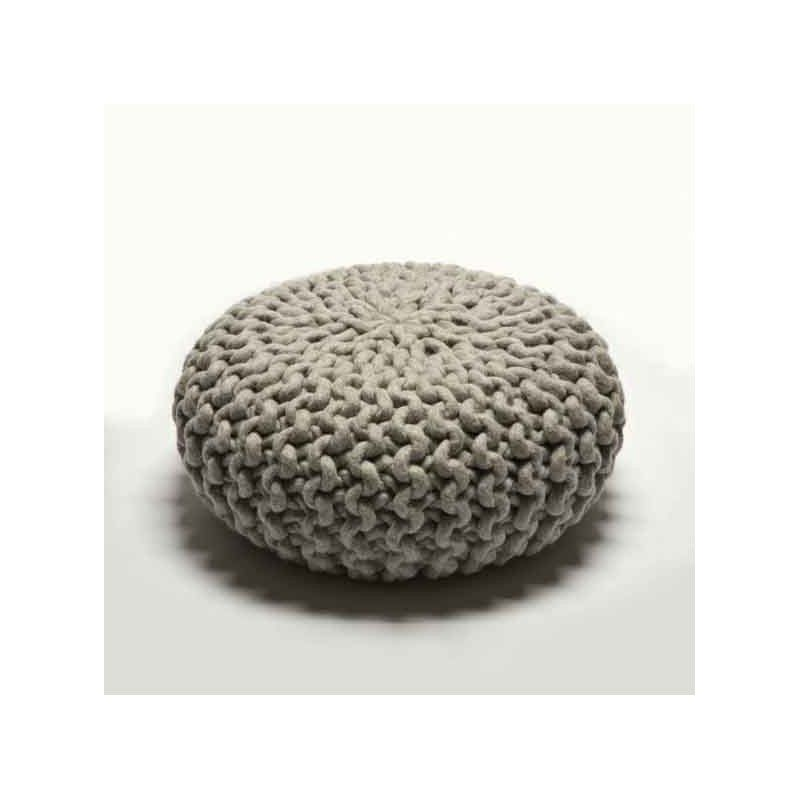 Very on trend knitted Urchin Pouf by Christien Meindertsma at Wannekes