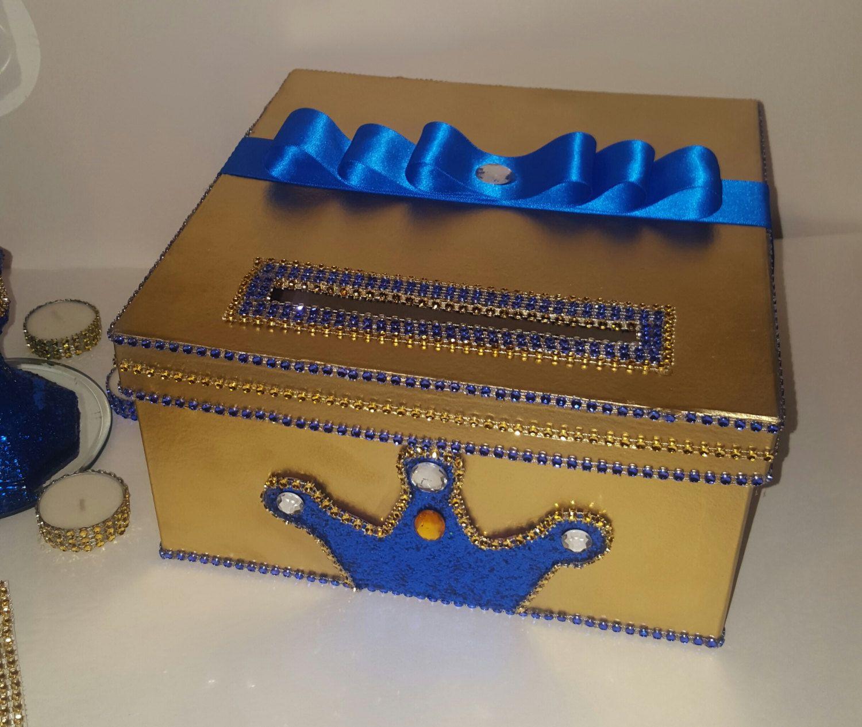 Royal Prince Card Box,gold Card Box,blue Card Box,crown