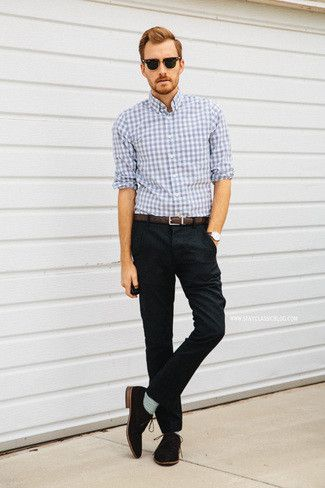 Men's Light Blue Gingham Longsleeve Shirt, Brown Leather Belt, Black  Chinos, Brown Suede Derby Shoes, and Grey Socks