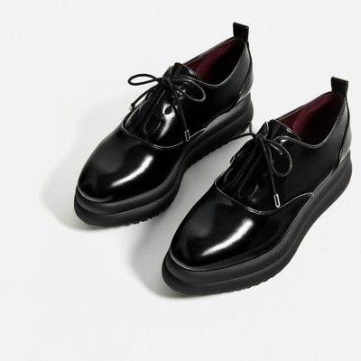 Zara Czarne Buty Derby Na Platformie Nowe 39 6 6733035741 Oficjalne Archiwum Allegro Vegan Shoes Dress Shoes Womens Chic Shoes