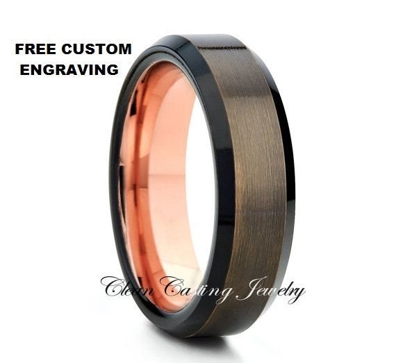 Rose Gold Gunmetal Tungsten Wedding by CleanCastingJewelry on Etsy