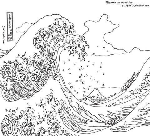 La grande vague de kanagawa par hokusai coloriage coloriages pinterest coloring pages art - Vague coloriage ...