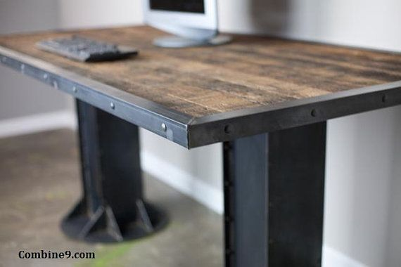 Reclaimed Industrial Chic Desk Dining Table with Storage